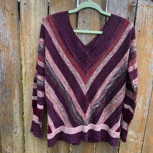 Striped Free People pink purple magenta sweater